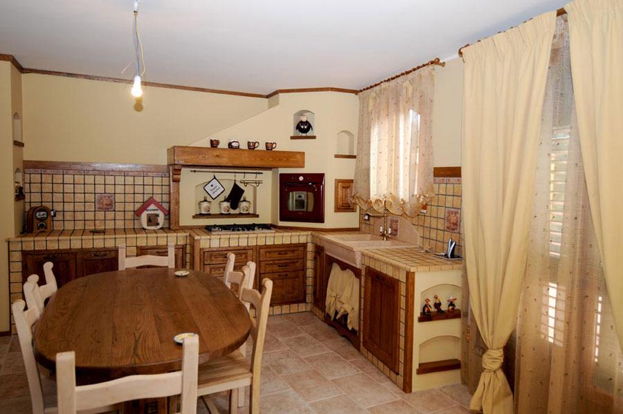 Modello di cucina in muratura rustica n.21