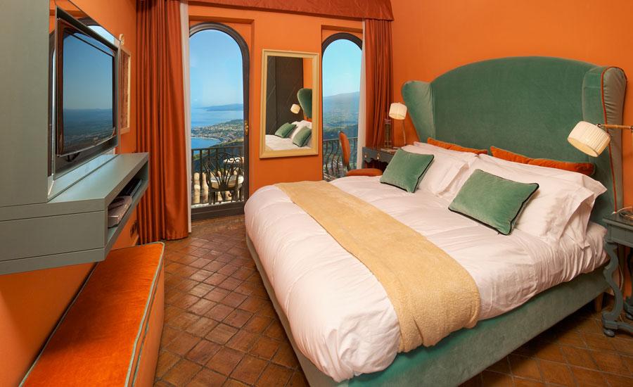 Camera dell'hotel Villa Ducale a Taormina