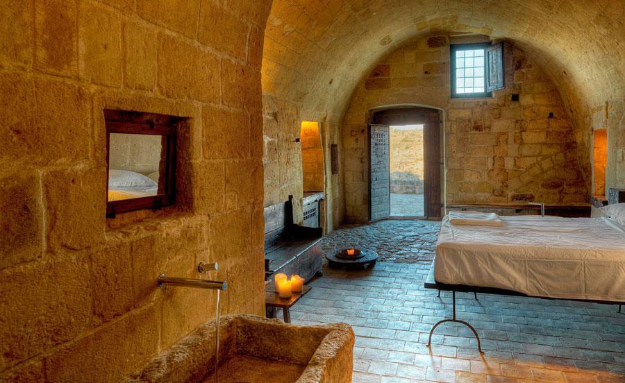Camera dell'hotel Sextantio Le Grotte della Civita a Matera