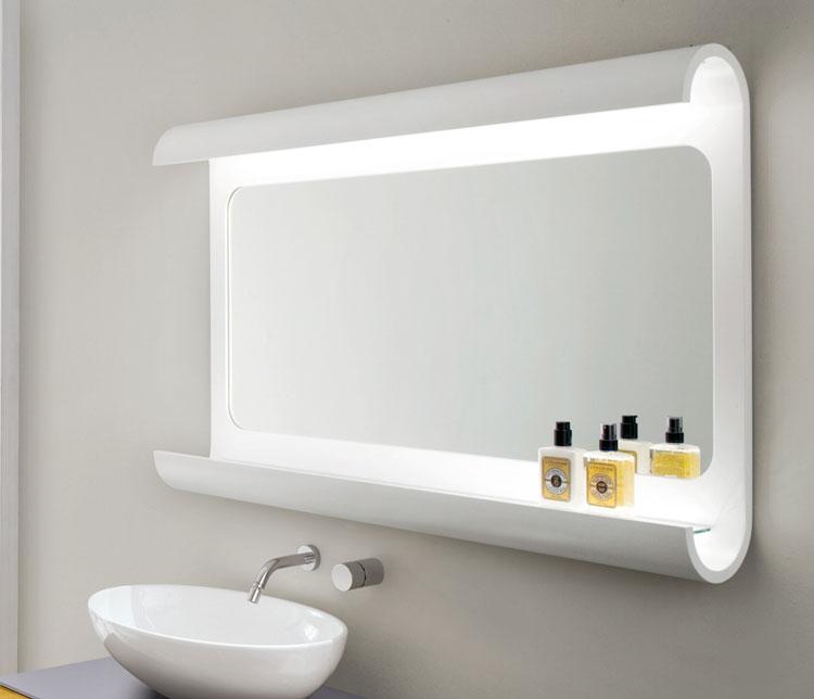 50 specchi per bagno moderni dal design particolare - Specchio contenitore bagno con luce ...