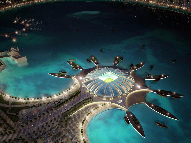 Progetto dello stadio Doha Port per Qatar 2015