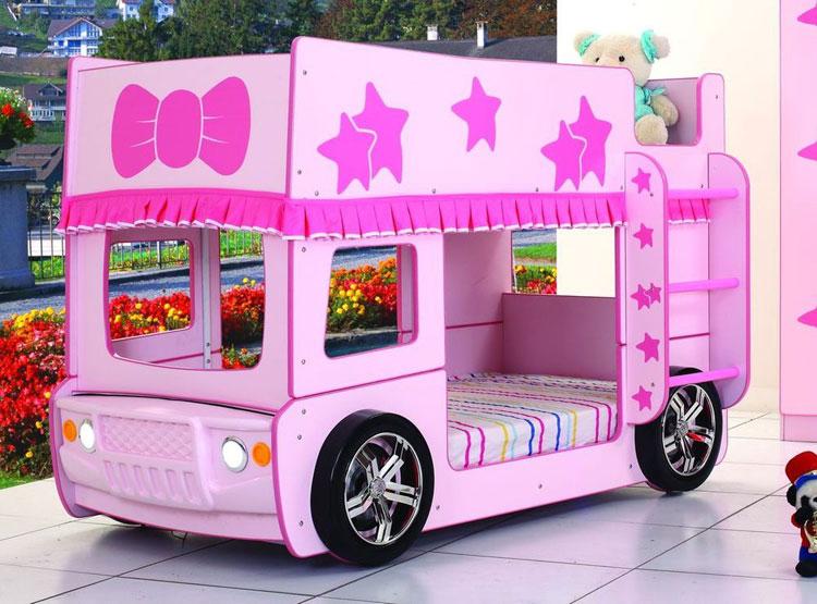 Letto a castello a forma di autobus rosa