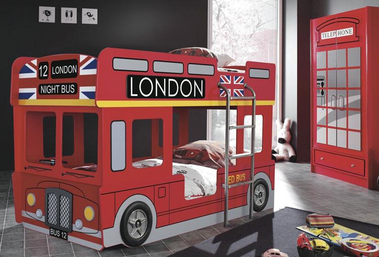 Letto a castello a forma di bus