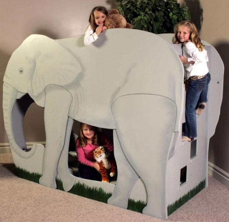 Letto a castello a forma di elefante