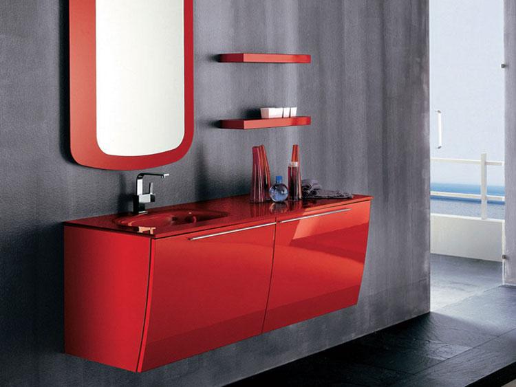 Modello di mobile bagno rosso 04