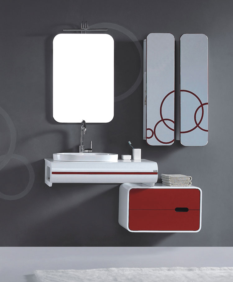 Modello di mobile bagno rosso 06