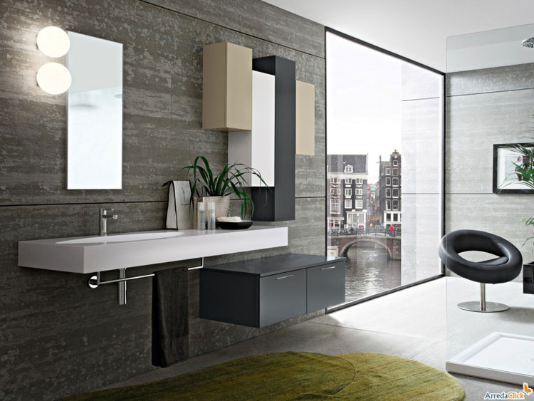 50 magnifici mobili bagno sospesi dal design moderno - Lavandino bagno sospeso ...