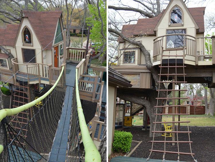 Ponte e rete da arrampicata nella casa sull'albero di Dallas