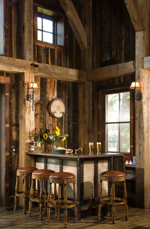 Angolo bar da realizzare a casa in stile rustico n.05
