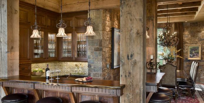 16 Esempi di Angolo Bar in Casa con Arredamento Rustico