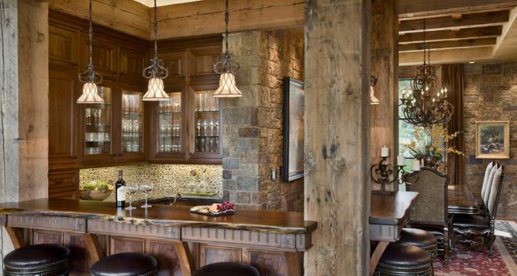 16 esempi di angolo bar in casa con arredamento rustico for Esempi di arredamento