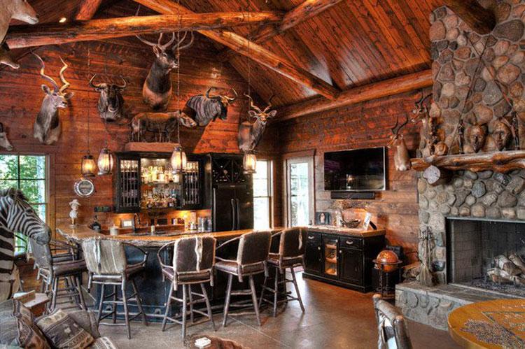 Angolo bar da realizzare a casa in stile rustico n.14