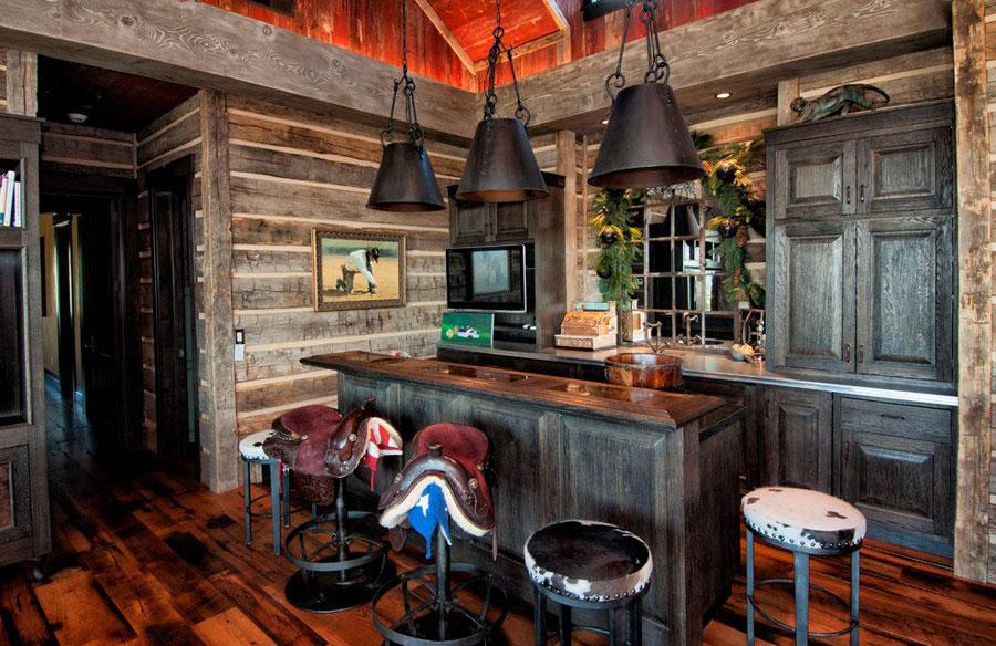 Angolo bar da realizzare a casa in stile rustico n.15