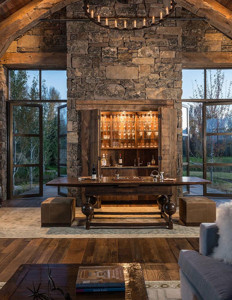 Angolo bar da realizzare a casa in stile rustico n.18