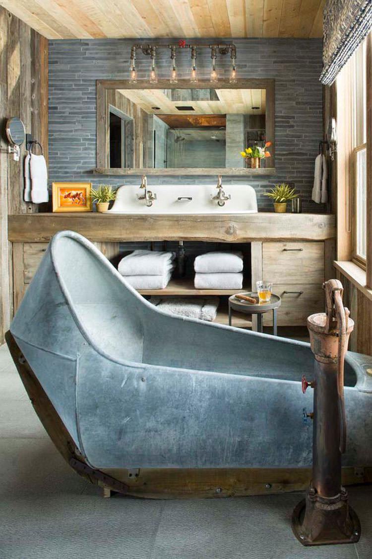 Foto di 25 bagni rustici per idee di arredo con questo for Immagini design