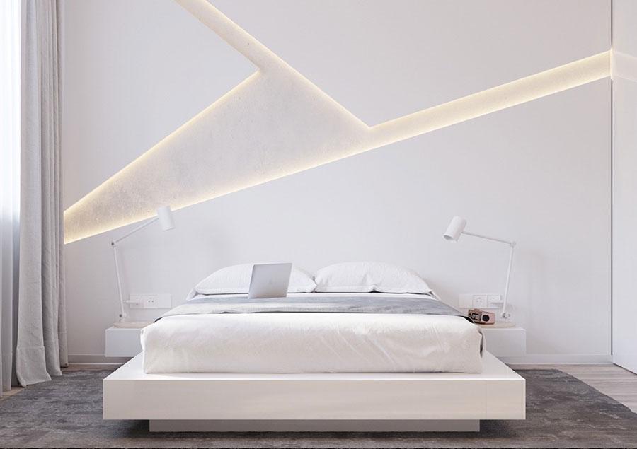 Idee per arredare una camera da letto bianca moderna n.01