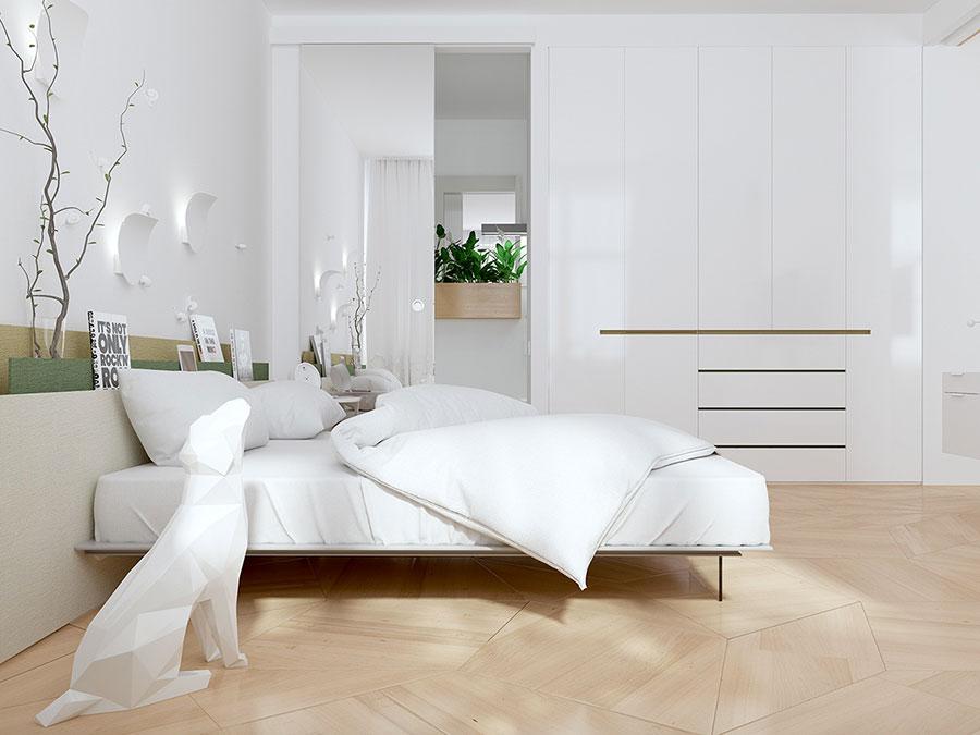 Idee per arredare una camera da letto bianca moderna n.06