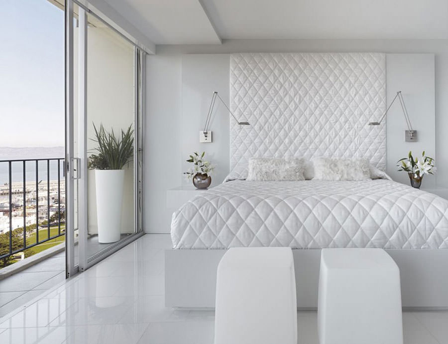 Camere Da Letto Bianche : Elegante camera da letto bianco fresco moderno con tappeto carta