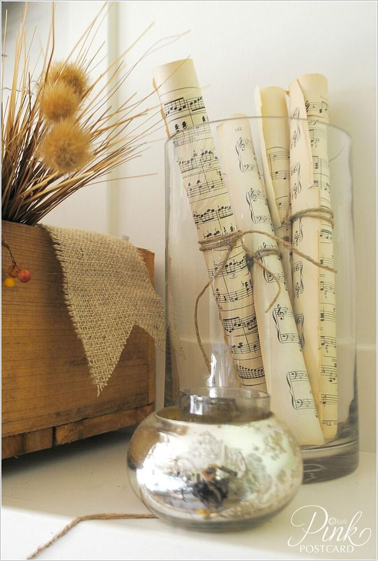 Spartiti musicali da inserire nei vasi come decorazioni