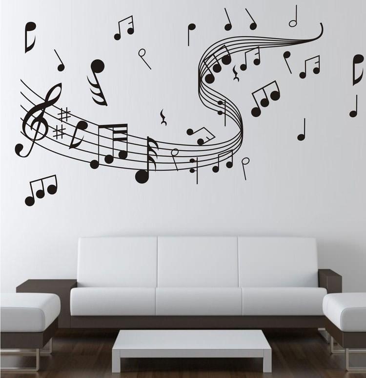Adesivi murali a forma di spartiti e note musicali