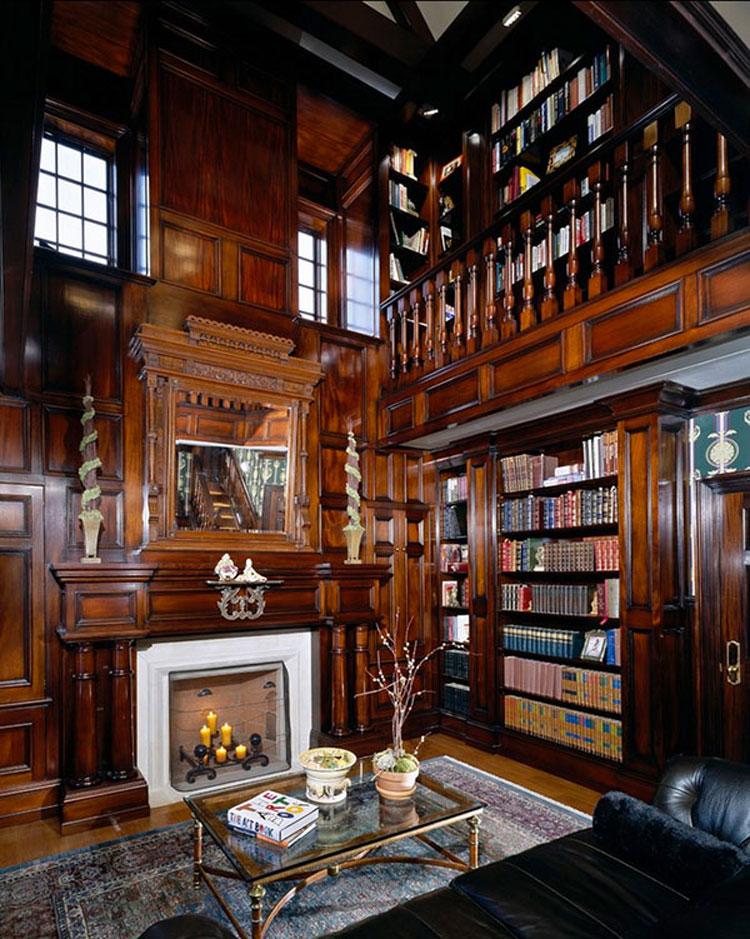 Libreria a soffitto con scala n.01