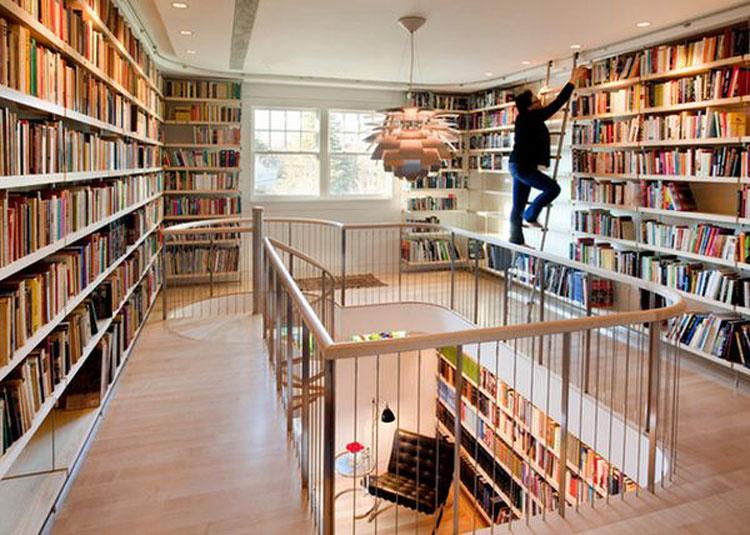 Libreria a soffitto con scala n.02