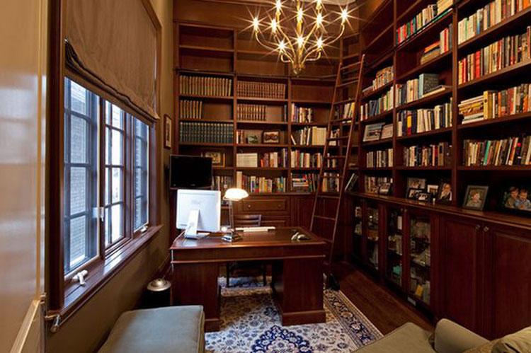 Libreria a soffitto con scala n.05