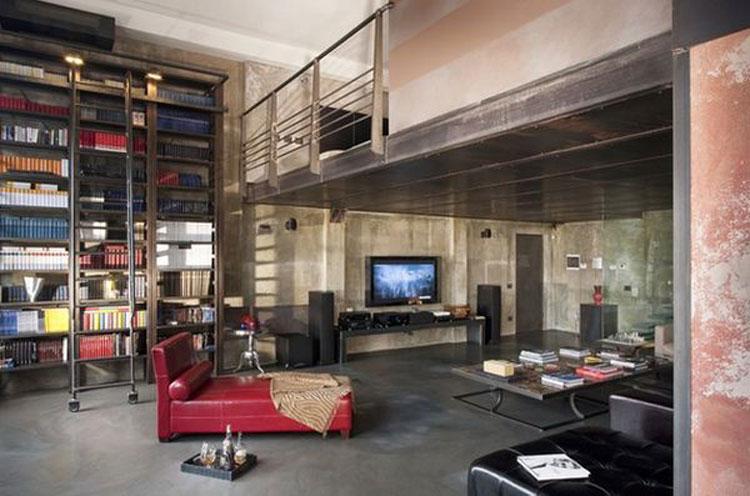 Libreria a soffitto con scala n.13