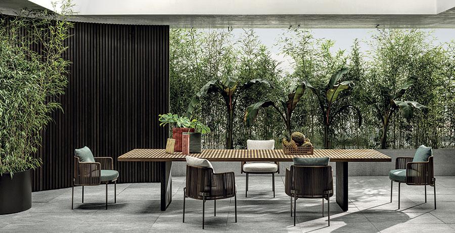 Modello di tavolo da giardino in legno teak n.01