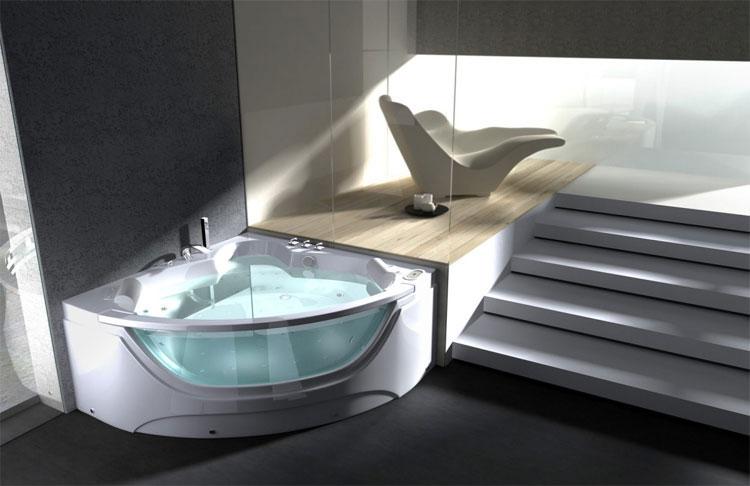 Vasca Da Bagno Moderno : Boiserie mobili bagno sospesi e vasca rivestiti in rovere naturale