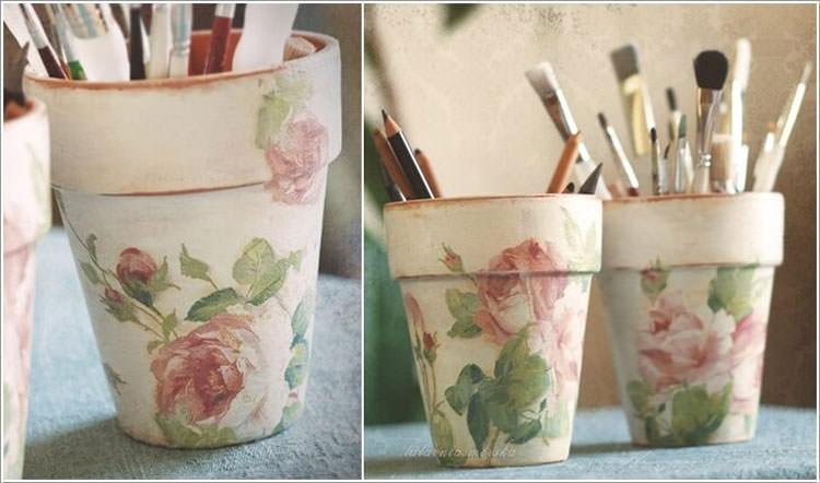 Vasi decorati portatrucchi in stile shabby chic