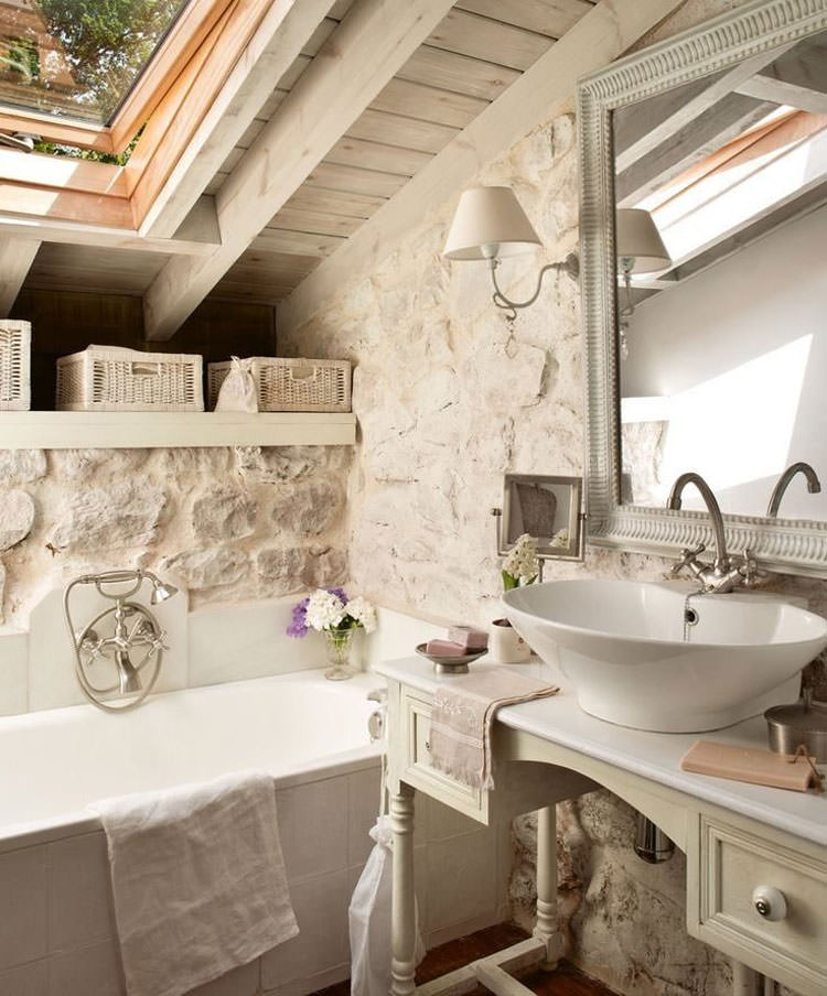 20 bagni shabby chic economici in stile provenzale for Tappeti country chic