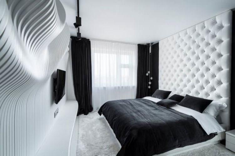 Camera da letto elegante in bianco e nero n.01