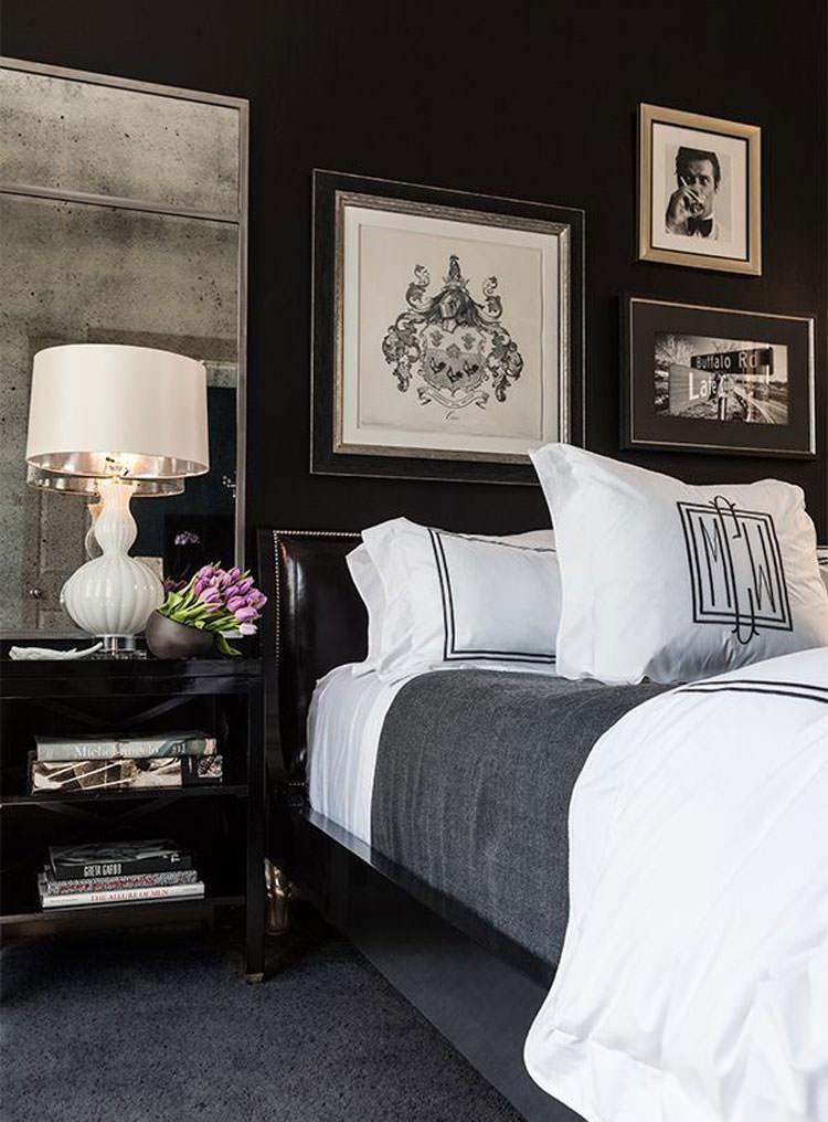 Camera da letto elegante in bianco e nero n.02
