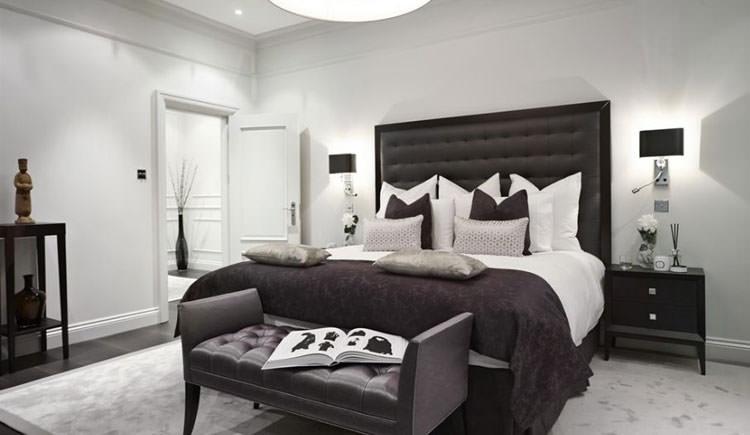 Camera da letto elegante in bianco e nero n.04