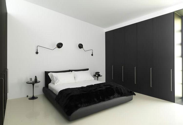 Camera da letto elegante in bianco e nero n.05