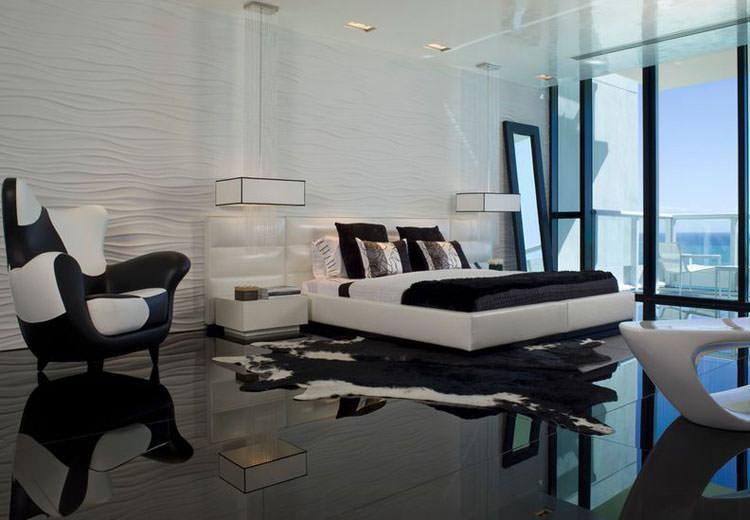 Camera da letto elegante in bianco e nero n.06