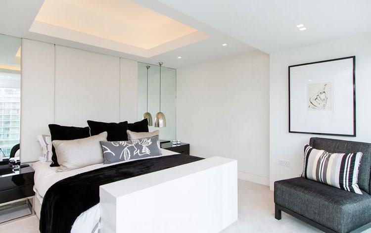Camera da letto elegante in bianco e nero n.07