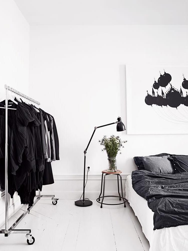 Camera da letto elegante in bianco e nero n.08