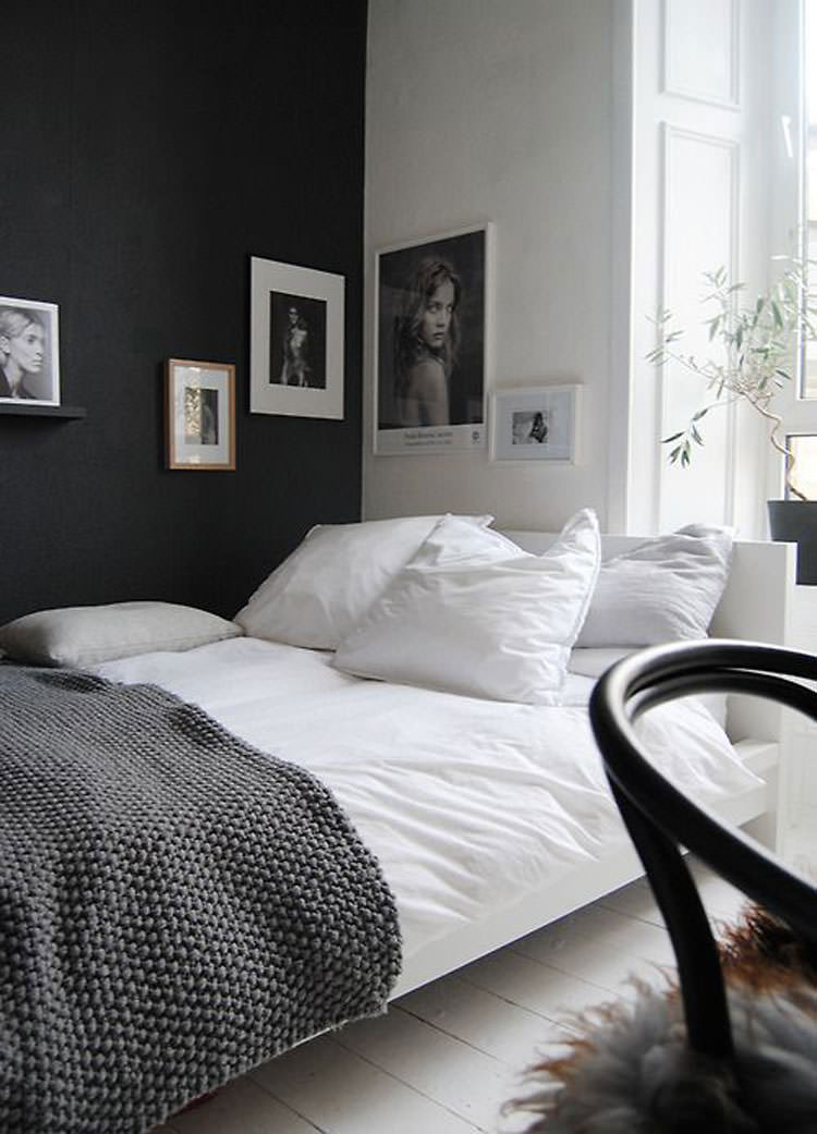 35 eleganti camere da letto in bianco e nero for Black wall room ideas