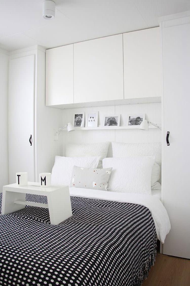 Camera da letto elegante in bianco e nero n.13