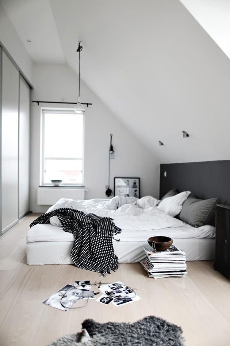 Camera da letto elegante in bianco e nero n.16