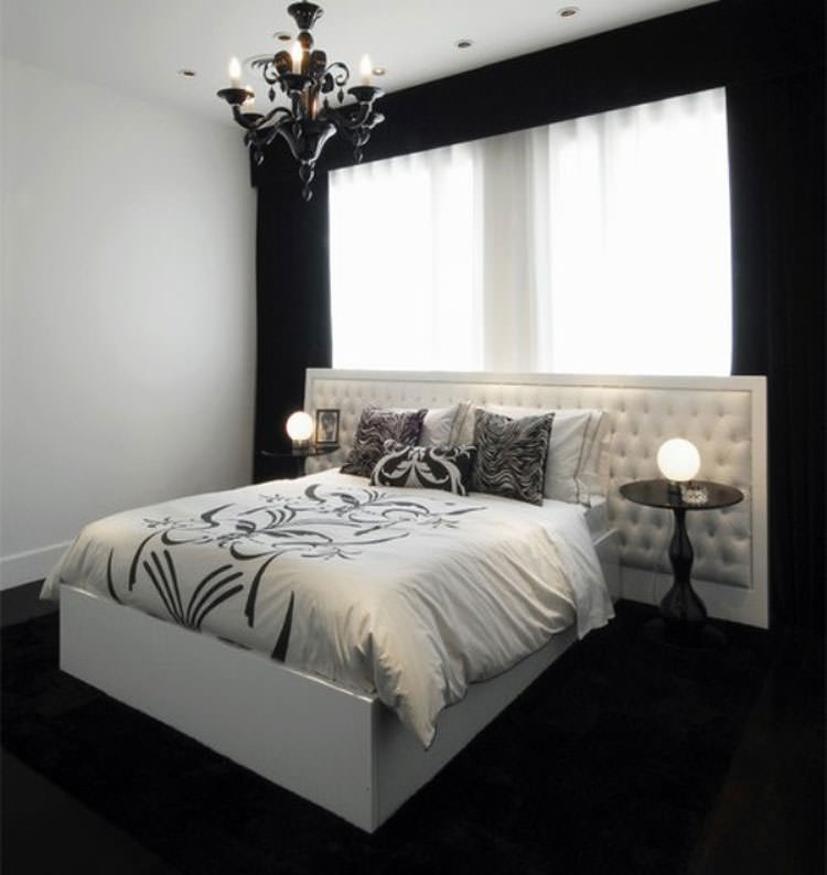Bedroom Design Black Bed Gold Carpet Bedroom Bedroom Bay Window Curtains Small Bedroom Furniture Layout Ideas: 35 Eleganti Camere Da Letto In Bianco E Nero