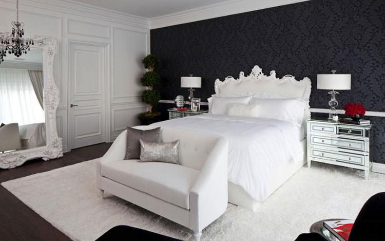 Camera da letto elegante in bianco e nero n.23