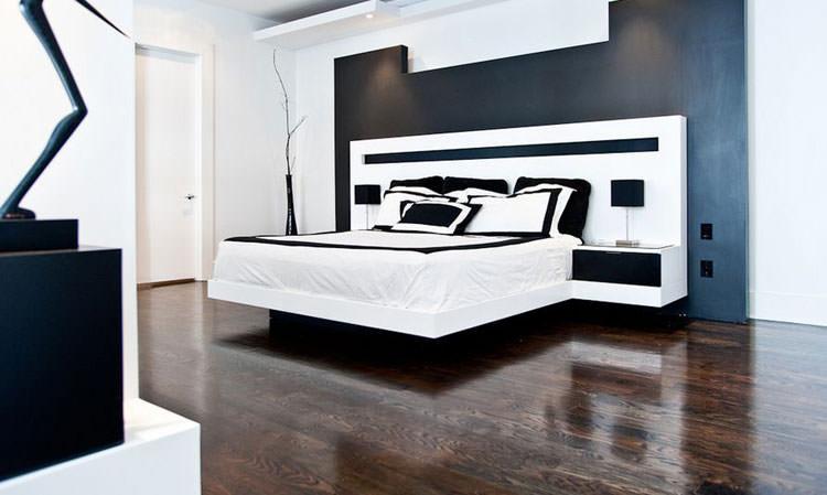 Camera da letto elegante in bianco e nero n.25