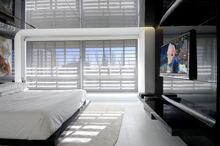Camera da letto elegante in bianco e nero n.26