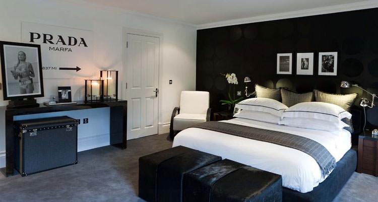 Camera da letto elegante in bianco e nero n.27
