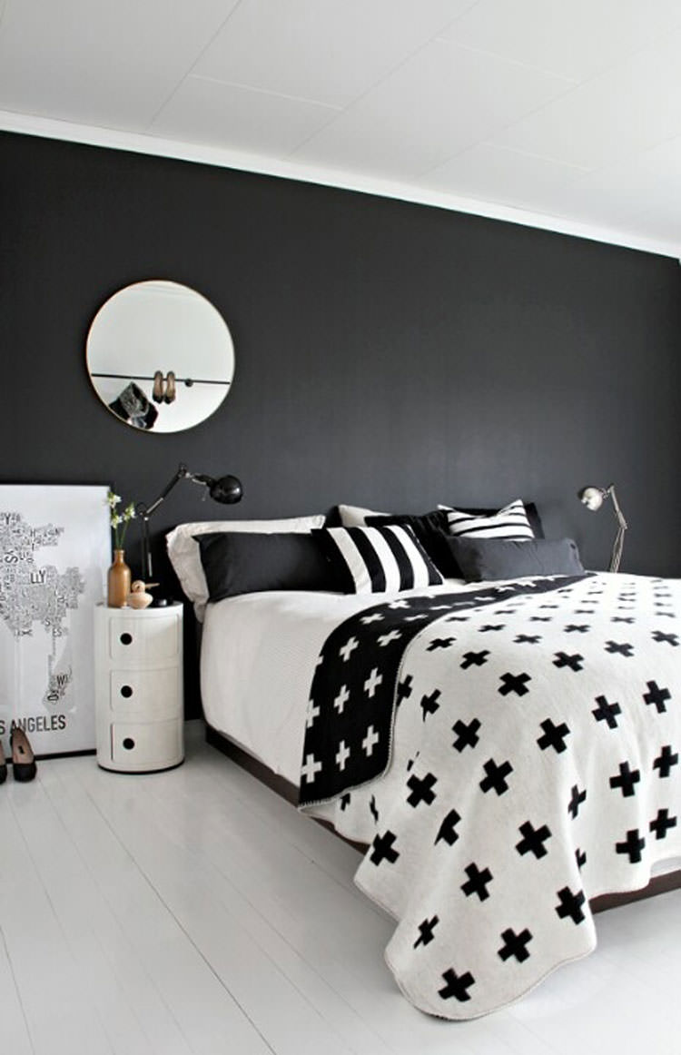 Camera da letto elegante in bianco e nero n.28