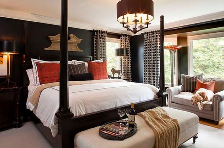 Camera da letto elegante in bianco e nero n.29