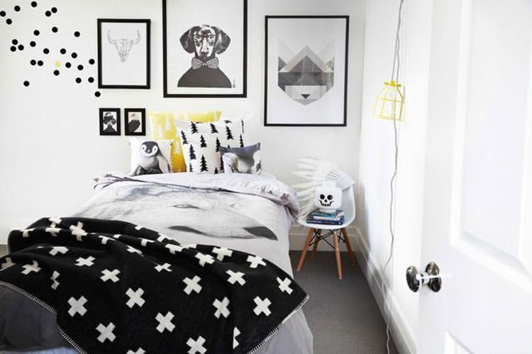 Camera da letto elegante in bianco e nero n.30